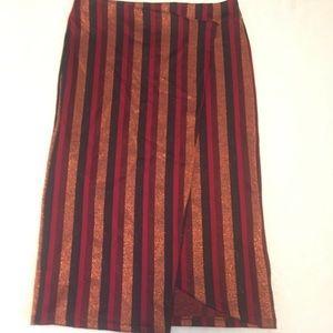 Zara Metallic Striped Skirt NWT